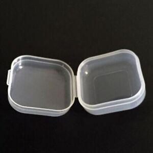 20pcs Mini Clear Plastic Small Box Hook Jewelry Earplugs Storage Container Case