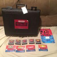 Nintendo Virtual Boy Blockbuster Lot Genuine Case with 5 Games Rental Set Mario