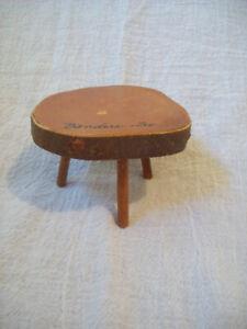 Vintage Souvenir Wooden Three-Legged Table Bandera, Texas Made of Orange Wood