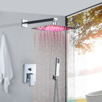 Wall Mounted LED 10-inch Rainfall Shower Faucet with Hand Shower Set Mixer Tap