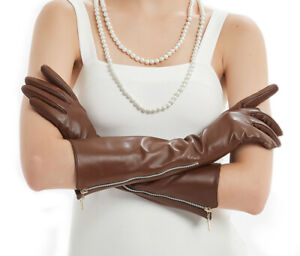 """women new 40cm(15.7"""")long side visible zipper real sheep leather gloves"""