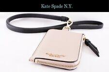 Kate Spade N.Y. Lanyard ID/Card Holder w/ Small Wallet (Beige Zipper): WLRU5454