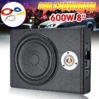 US 600W Slim Active Car Audio Subwoofer Under Seat Power Supper Bass Sub Box