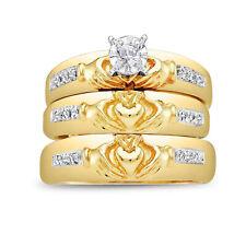 Diamond 14K White Gold Fn Trio His Her Bridal Wedding Band Engagement Ring Set