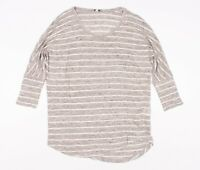 Joie Gray Striped Linen Dolman Sleeve T Shirt Top Size XS