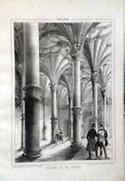 ARAGÓN, ZARAGOZA, SALÓN DE LA LONJA, Litografía original de Parcerisa 1839-1865