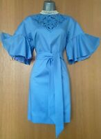 Karen Millen UK 12 Blue Embroidered Cotton Short Kimono Sleeves Tunic Dress EU40