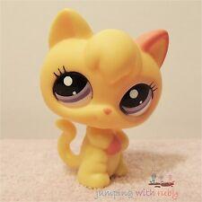 Littlest Pet Shop #2512 - Tiny Yellow & Pink Standing Kitten Cat w/ Purple Eyes