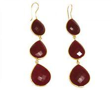 Gemshine Ohrringe 925 Silber Vergoldet Rubin Rot CANDY Tropfen 9 cm