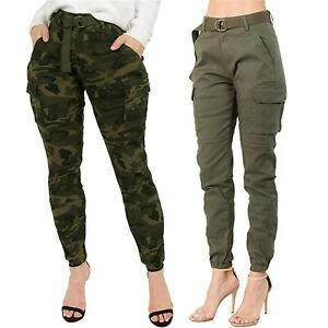 Womens High Waist Slim Fit Jogger Cargo Camouflage Long Pants Trousers +Belt US