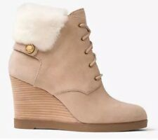 MICHAEL KORS Carrigan faux fur-trimmed suede wedge boots BNWOB UK 7