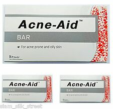 3 x STIEFEL ACNE AID SOAP BAR DEEP PORE CLEANSING PIMPLE OILY SKIN FACE AID 100g