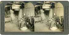 Norway TELEMARKEN Two Women Carding & Spinning Wool Stereoview 13497 ve409b fx