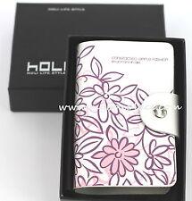 Pink & Purple Floral Genuine Leather Business Credit Licence Card Holder Wallet