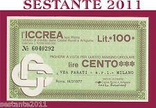 ICCREA, LIRE 100 18.2. 1977,  VEA PARATI SRL MILANO , FDS, B32
