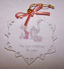 1990 Precious Moments MAY YOUR CHRISTMAS BE WARM Wood Stove Snow Flake