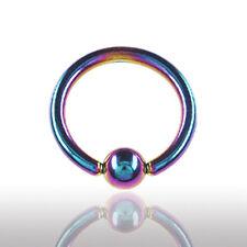 1,6mm Regenbogen Titan Piercing Ring  Klemmkugel Ring OHR NASE..