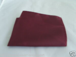 "Polyester Dark Wine Burgundy Top Pocket Hankie - 9"" x 9"" = 23cm x 23cm - Squares"
