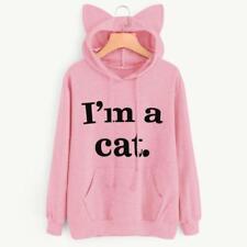 Womens Cat Long Sleeve Hoodie Sweatshirt Hooded Pullover Tops Blouse Jumper Coat