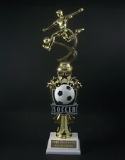 """14"""" Soccer Trophy Award. Male or Female Topper. Free engraving."""