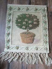 "36"" I. C. A. WOOL Tapestry weaving wall hanging art Jute India Boho TOPIARY"
