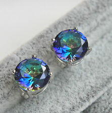 18K White Gold Filled - 7MM Chic Round MYSTICAL Topaz Amethyst Earrings 10 Color