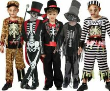 Kids Skeleton Zombie Costume Boys Halloween Fancy Dress Outfit Scary Horror New