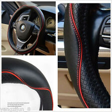 "Luxury Pure Leather Black & Red Line Steering Wheel Cover Fit Size M 15"" 38CM"