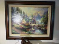 "Thomas Kinkade 25.5""x 34"" Canvas Dogwood Chapel LE Double Signed Framed"
