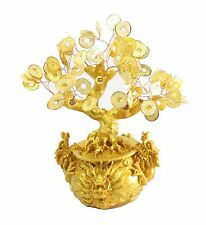 Feng Shui Gold Coins Money Tree in Dragon Pot Wealth Blessing Gift US Seller