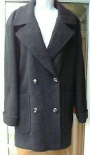 M&S Ladies Double Breasted 100% Wool Grey Coat Size 14