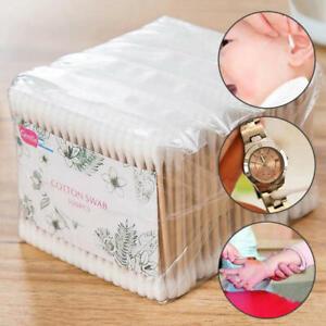 500Pcs Cotton Swab Wood Sticks Doublle Head Disposable Health Makeup QTip Lot