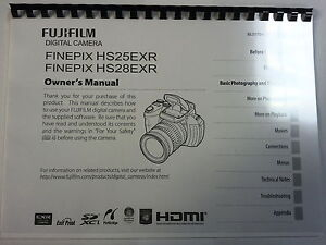 FUJIFILM HS25EXR/HS28EXR PRINTED INSTRUCTION MANUAL USER GUIDE 146 PAGES A5