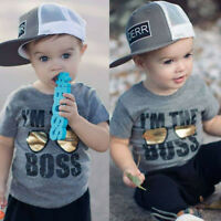 Fashion Toddler Baby Boy Cotton Short Sleeve T-shirt Casual Clothes Tops Blouse