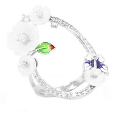 WOW! EXQUISITE CUBIC ZIRCONIA WHITE MOP ENAMEL STERLING SILVER 925 RING SIZE 9