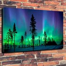 """Northern Lights Aurora Borealis Printed Canvas Picture A1.30""""x20"""" 30mm Deep Art."""