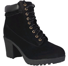 UK Womens Lady Lace Up Ankle Boots Platform Punk High Heels Winter Casual Shoes