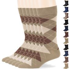 Men Cotton 6 Pack Argyle Striped Dotted Dress Socks Large Black Brown Dark Navy
