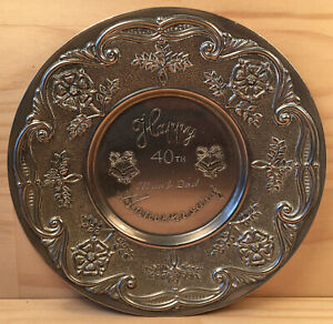 "40th ANNIVERSARY MUM & DAD ""Silver"" Silverplated Metal Dish Ornament (England)"