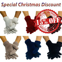 Ladies womens warm knitted thermal woolen lined soft plain colors winter gloves