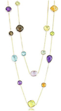 14K Yellow Gold Gemstone Necklace With Multi Shaped Gemstones 36 Inches