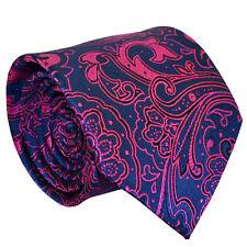 Fashion Blue Men Tie Pink Floral Wedding Party Prom Office Formal Men Necktie