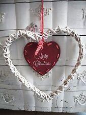 30cm Merry Christmas Herz Weidenherz Weihnachten Landhaus shabby chic weiß