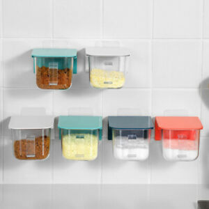 Kitchen Plastic Seasoning Box with Serving Spoons  Sealed Lid Spice Jars Rack