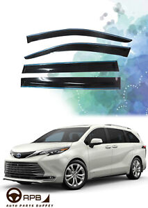 For Toyota Sienna 2021-on Chrome Trim Window Visor Guard Vent Deflector