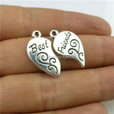 13455 10set=20pcs Vintage Alloy Word Love Heart Separate Best Friend Pendant