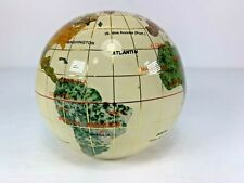 """Beautiful Globe Paperweight Inlaid With Semi-Precious Stone Gold Grid 3"""" Across"""