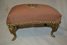 Antique Victorian Cast Iron Gold Gilt  Needle Point Tapestry Foot Stool ottoman
