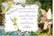 10 Personalised Tinkerbell Party Invitations / Thank You Cards
