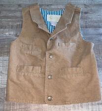 Scully Western/Cowboy Cotton Vest. Brown/Khaki Tan. Boys Small